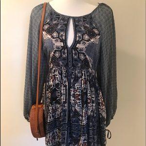 Free People Oskana Boho Mini Dress Blue Size 4